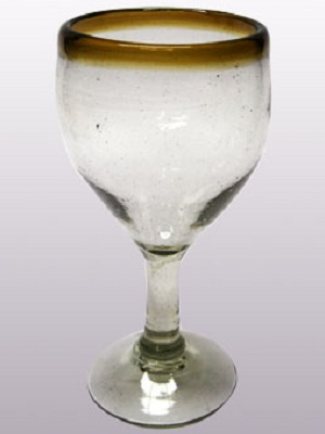 MEXICAN GLASSWARE / 'Amber Rim' wine glasses (set of 6)